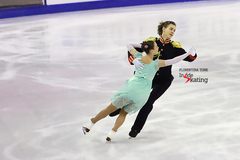 Countess Natasha Rostova (Alla) and Prince Andrei Bolkonsky (Pavel) during their first dance together; Alla skated the short program on her birthday