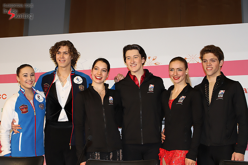 Top 3 couples at the 2015 Junior Grand Prix Final in Barcelona. This week in Debrecen, at the Junior Worlds, Alla and Pavel will meet again Lorraine McNamara & Quinn Carpenter (center; gold at JGPF) and Rachel Parsons & Michael Parsons (right; bronze at JGPF)