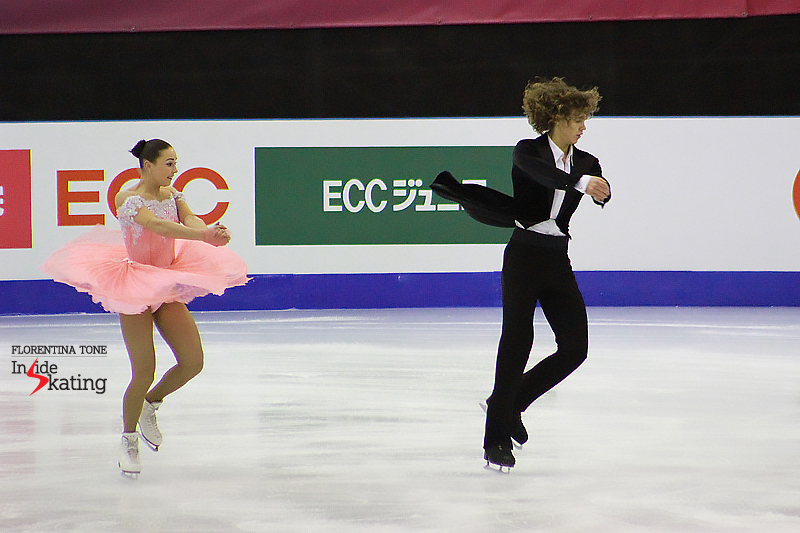 Flying dress and flying hair during a set of synchronized twizzles