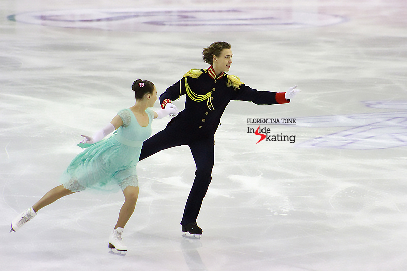Alla and Pavel take the ice for their short dance, inspired by Lev Tolstoy's War and Peace