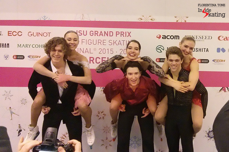 Blurry, but so very nice: fun, fun, fun in the mixed zone with the medalists in the junior ice dancing event