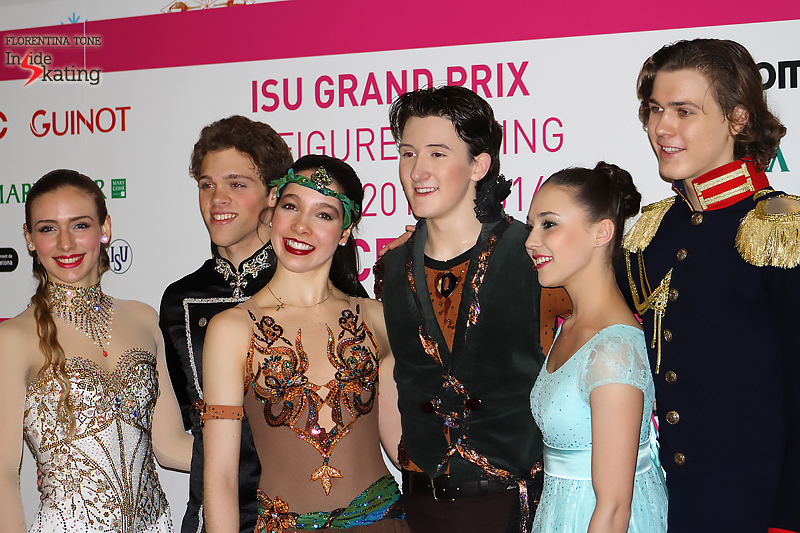 Top 3 couples after the short dance, in the mixed zone; Alla and Pavel were third after this particular segment of the ice dancing event, behind Lorraine McNamara & Quinn Carpenter (center) and Rachel Parsons & Michael Parsons (left)