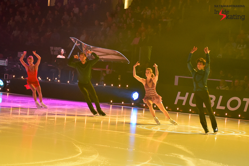 Tatiana Volosozhar, Maxim Trankov, Carolina Kostner and Stéphane Lambiel during the opening number of 2016 Ice Legends