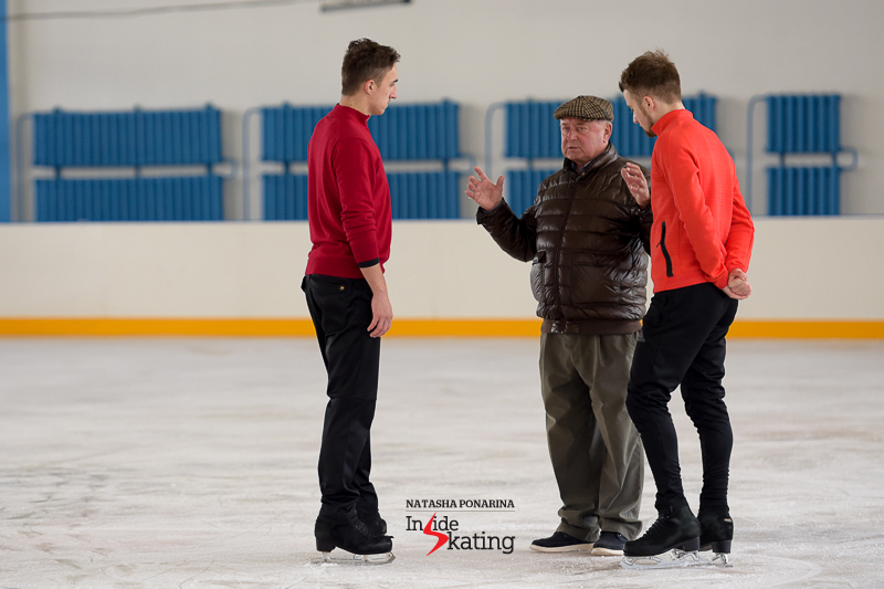 This season, Misha choreographed Artur Dmitriev free skate – in Saint Petersburg, he and Artur listen to what coach Alexei Mishin has to say