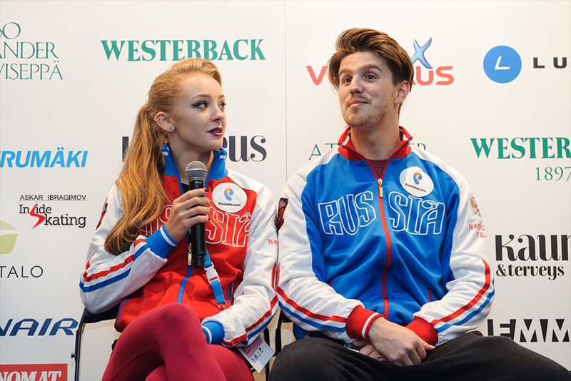 Alexandra and Ivan during the press conference after the short dance, at 2016 Finlandia Trophy; they'd just won this particular segment of the event, with a personal best score: 69.63 points.