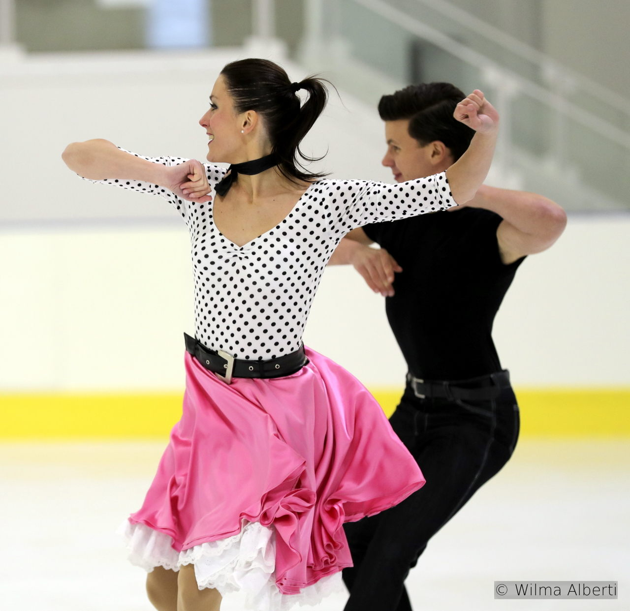 For their short dance, Charlène Guignard and Marco Fabbri have chosen to skate to a Grease Medley – and their costumes are more than telling