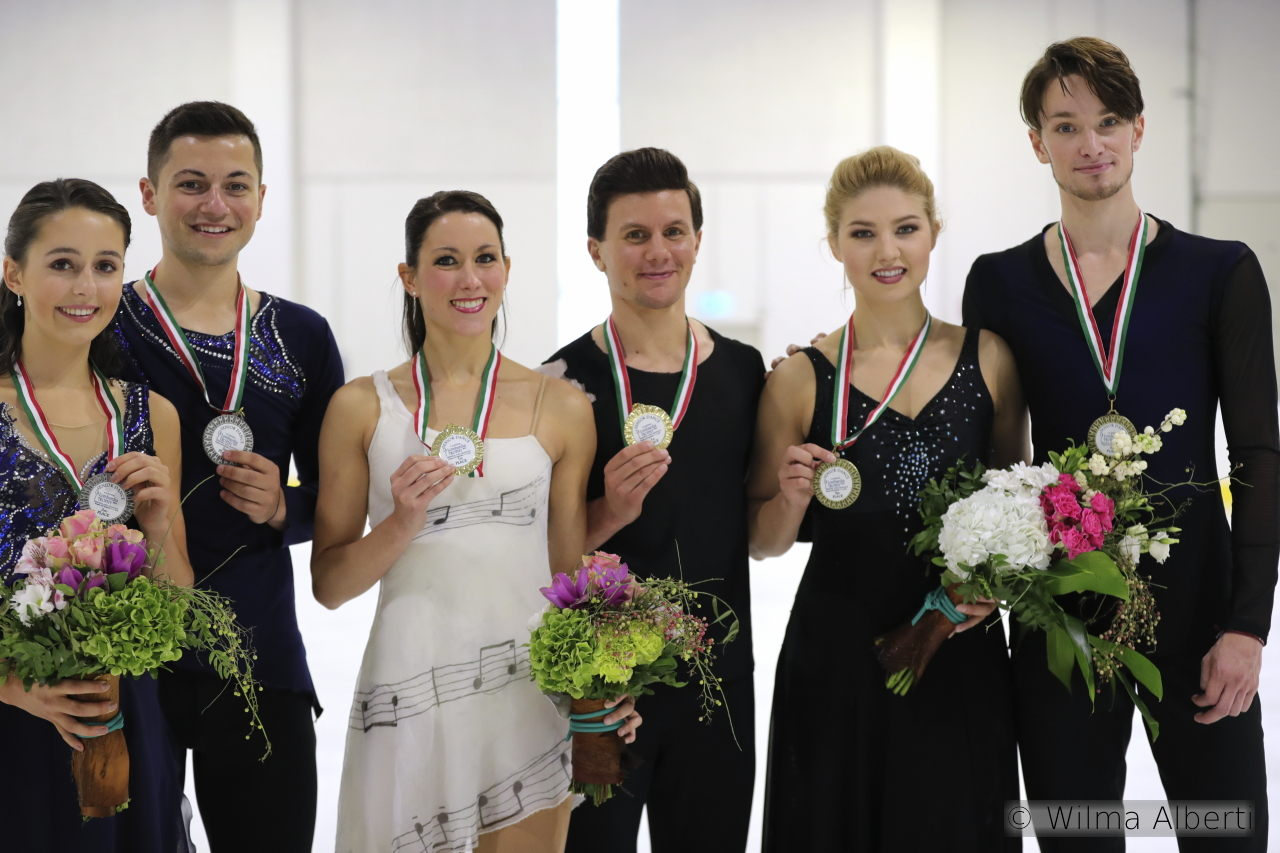 The medalists in the ice dancing event, at this year's edition of Lombardia Trophy