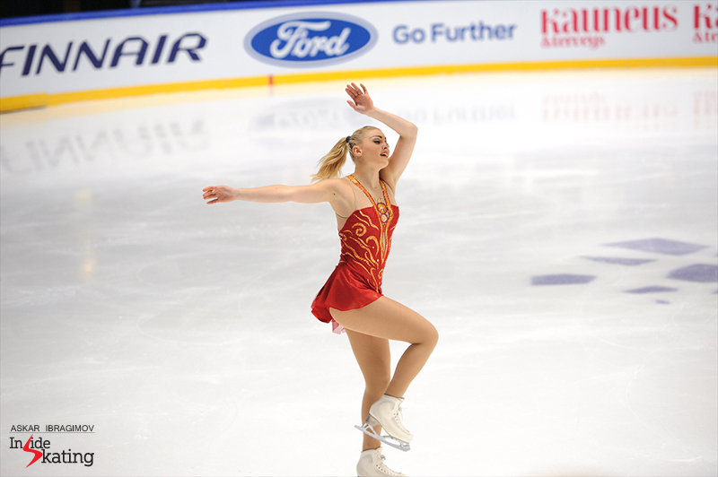 "In her free skate, Joshi Helgesson performs to ""Endangered Species"" by Dianne Reeves"