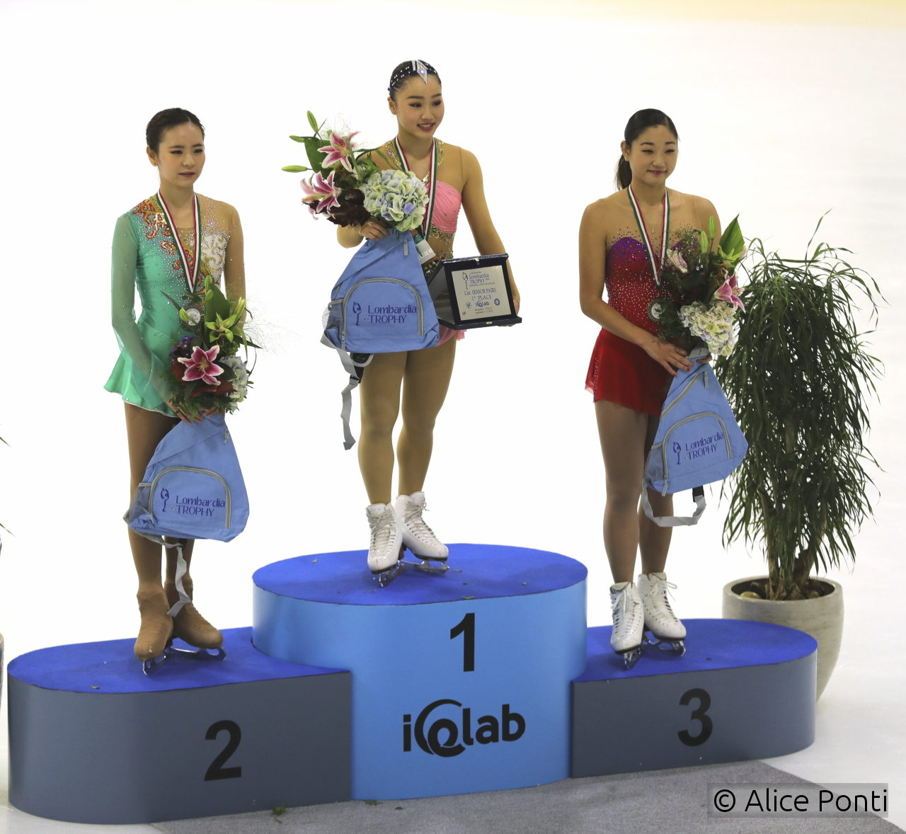The three medalists of this year's edition of Lombardia Trophy, all smiles