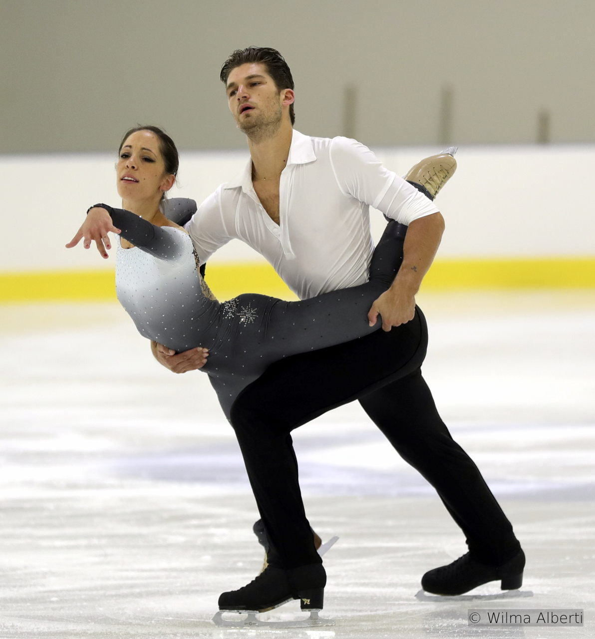 "Nicole and Matteo, during their emotional free skate in Bergamo, to ""Love Story"", performed by Nana Mouskouri"