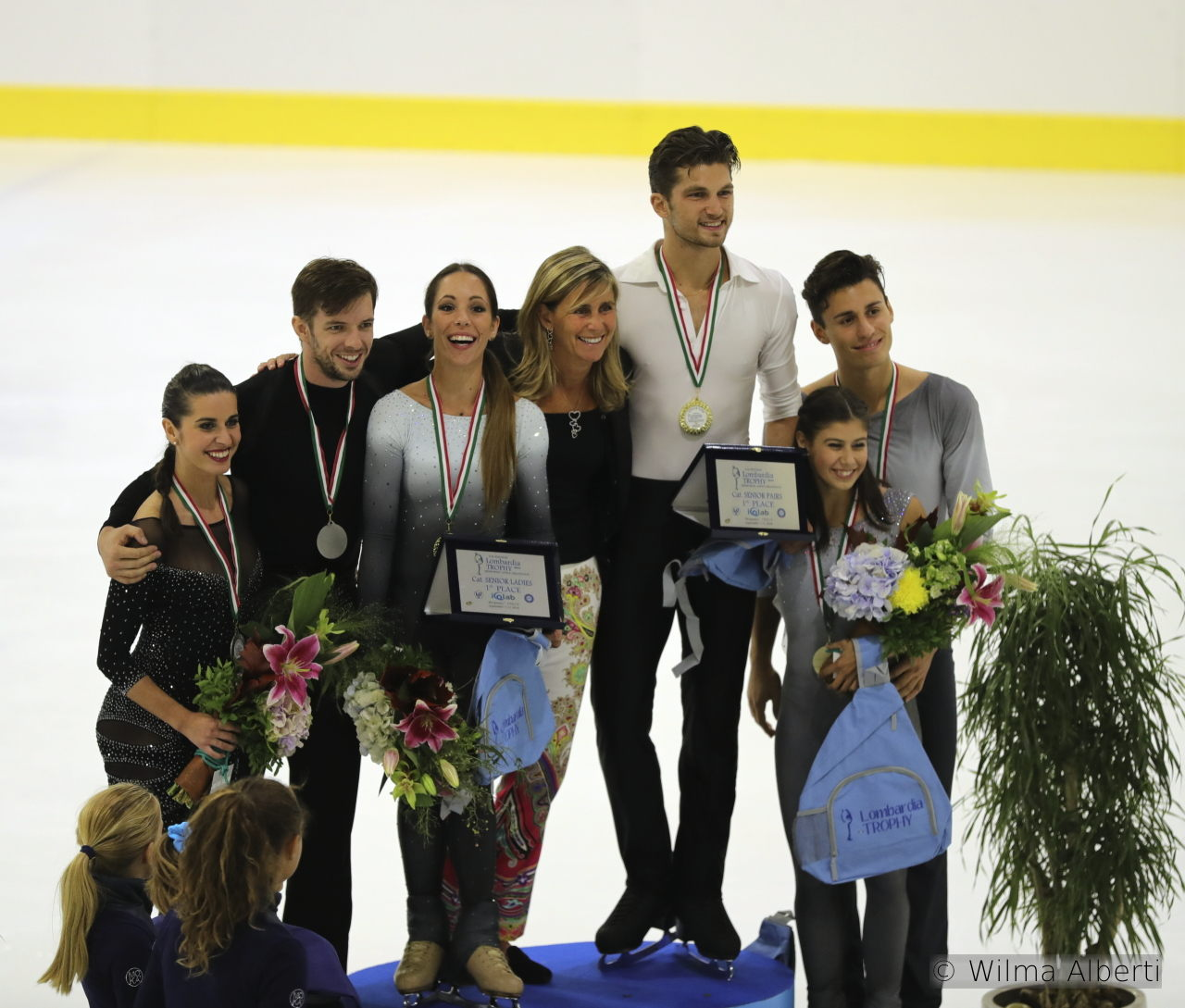 The podium in the pairs event, at this year's edition of Lombardia Trophy; the joy, the enthusiasm are more than obvious