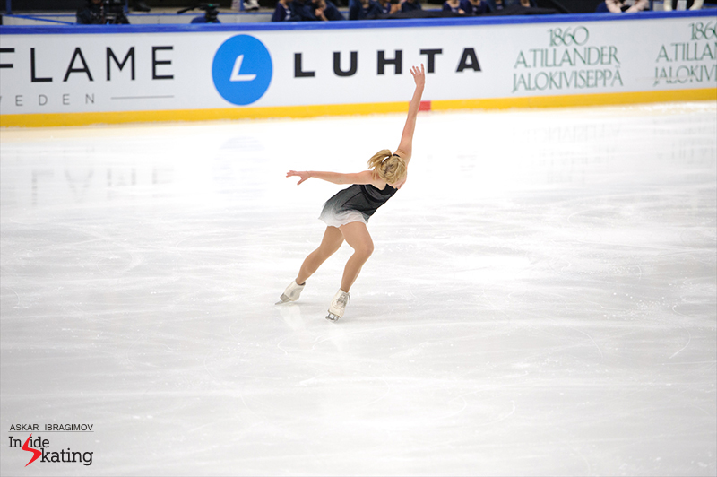 "This season in her free skate, Serafima performs to a combination of ""The Man with the Harmonica"" by Apollo 440 and music from the soundtrack of the movie ""Amelie Poulain"""