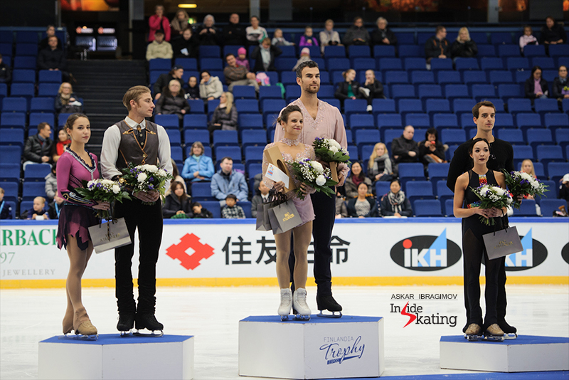 The podium in the pairs event - at this year's edition of Finlandia Trophy in Espoo