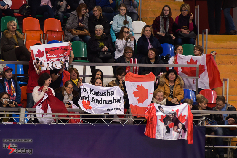 """Go, Katusha and Andrusha!"" – cheering for the Canadians, with flags, banners and enthusiasm"
