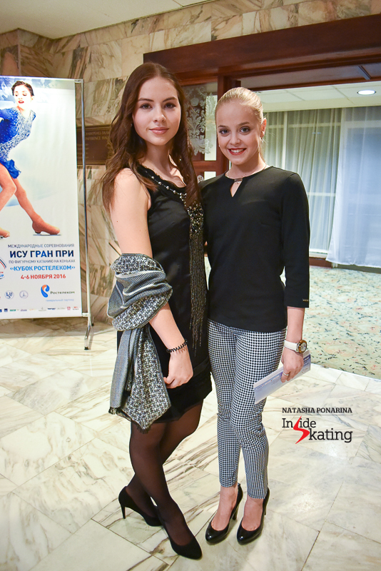 Latvia's Angelina Kuchvalska and Lithuanian pair skater Goda Butkutė