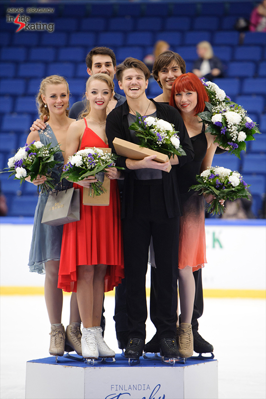 All smiles: the medalists of the ice dancing event at this year's edition of Finlandia Trophy