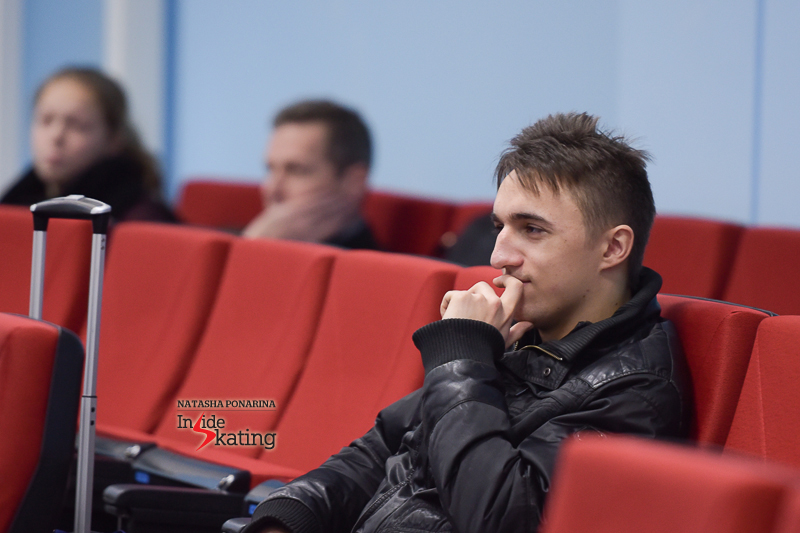 Now to the men: Russia's Artur Dmitriev waiting for his turn