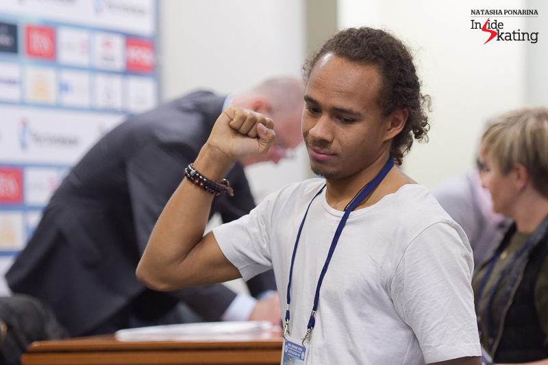 Elladj Balde's fist in the air, after drawing number 1 - he'll be the first to take the ice in the men's SP in Moscow