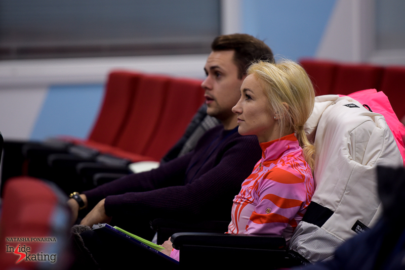 Aliona Savchenko and husband Liam Cross waiting for the pairs draw to begin - Aliona got married in August this year