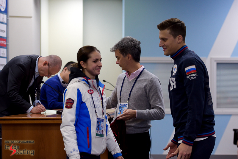 According to the draw, Russia's Natalia Zabiiako and Alexander Enbert  were the last to take the ice for their short program - hence the smiles
