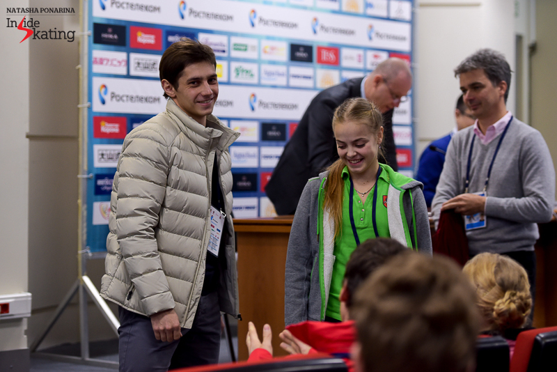 There's a moment in a draw when everyone smiles: particularly when someone - a skater or a pair - chooses number 1. In this case, Lithuania's Goda Butkute and Nikita Ermolaev were scheduled to open the (pairs) ball; see their reaction.