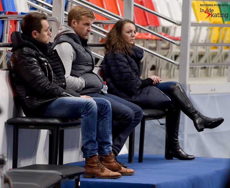 Aliona's husband, Liam Cross (first from the left), attended practice