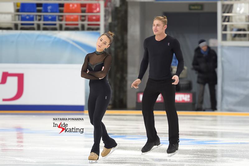 Kristina Astakhova and Alexei Rogonov playfully take the ice for their practice