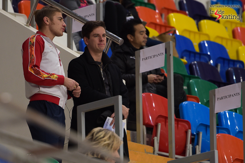 Pair skater Alexei Rogonov in the arena, alongside Sergei Komolov, the choreographer of the pair Astakhova/Rogonov