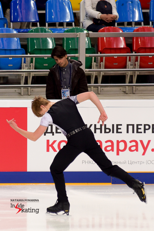 Stéphane Lambiel loves precision – and that's obvious even in this photo, taken during Deniss' short program at 2016 Rostelecom Cup