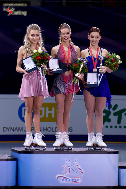 The ladies' podium at this year's edition of Rostelecom Cup: Elena Radionova (silver), Anna Pogorilaya (gold), Courtney Hicks (bronze)