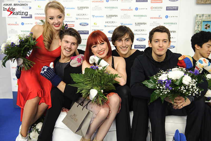 The medalists and their mittens 2016 Finlandia Trophy (4)