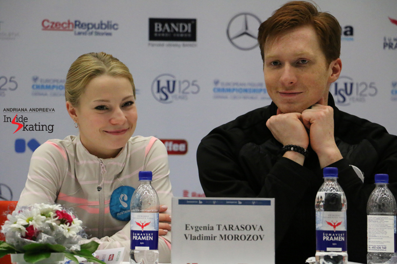 Happy, satisfied smiles: Evgenia Tarasova and Vladimir Morozov savouring their victory in Ostrava