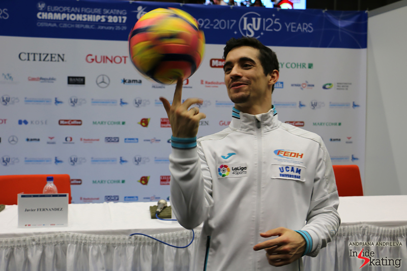 Javier Fernandez and a ball after SP 2017 Europeans (1)