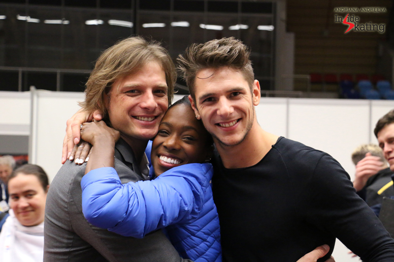 This photo? The embodiment of joy: John Zimmerman, Vanessa James and Morgan Ciprés at the end of a glorious day at 2017 Europeans