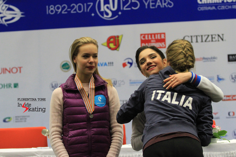 Small medals ceremony after SP in Ostrava