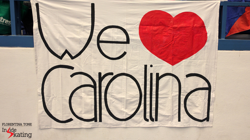 The banner for Carolina Kostner in Ostravar Arena 2017 Europeans