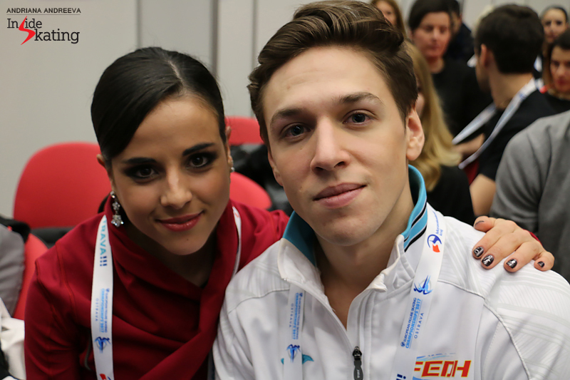 Sara and Kirill in Ostrava, during the draw for the free skate