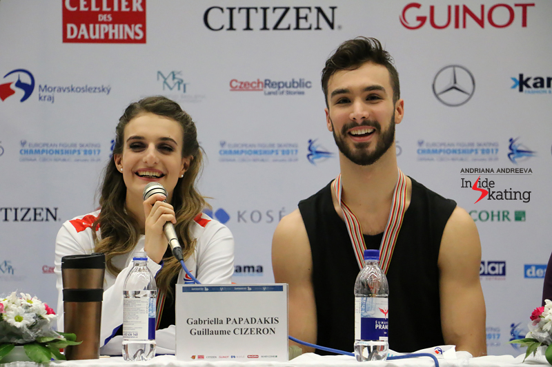 Gabriella and Guillaume during the press conference after the free dance in Ostrava