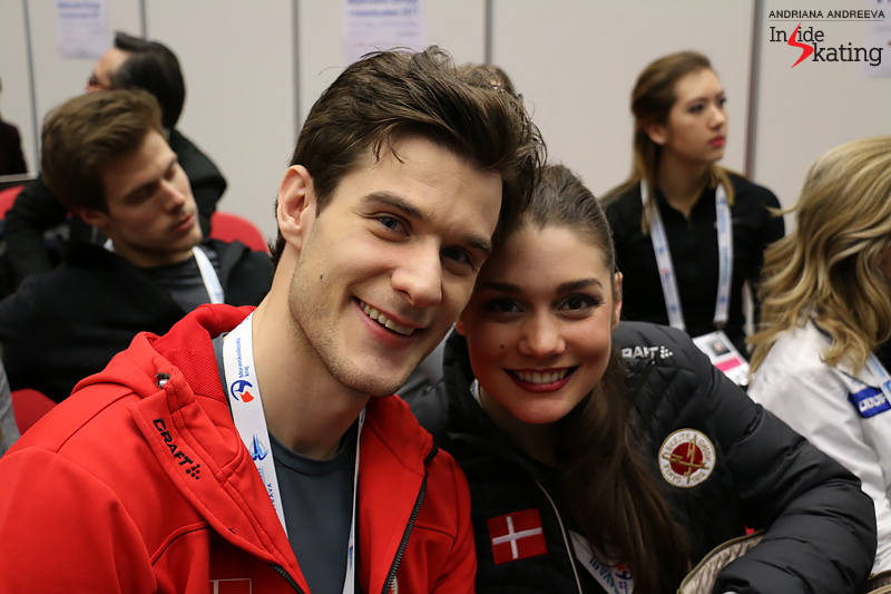Laurence and Nikolaj during the draw for the free dance at 2017 Europeans; minutes later we'll share a detailed talk about beginnings.