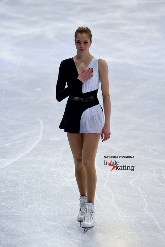 A grateful Carolina Kostner at 2017 Worlds in Helsinki