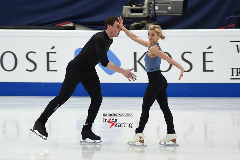 "For their first practice in the main rink, Aliona and Bruno decided to focus on their joyful short program, to ""That Man"" by Caro Emerald."