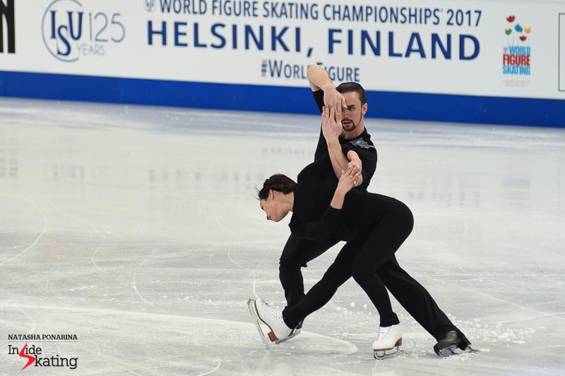 22 Ksenia Stolbova and Fedor Klimov pairs practice 2017 Worlds Helsinki