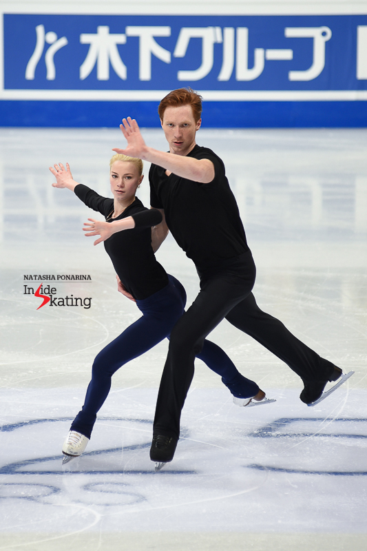 "Russia's Evgenia Tarasova and Vladimir Morozov came to Helsinki as the European and Grand Prix Final champions, hence one of the teams fighting for gold at this edition of the Worlds. For their first practice in the main rink, they chose to focus on their long program, set to ""Music"" by John Miles."
