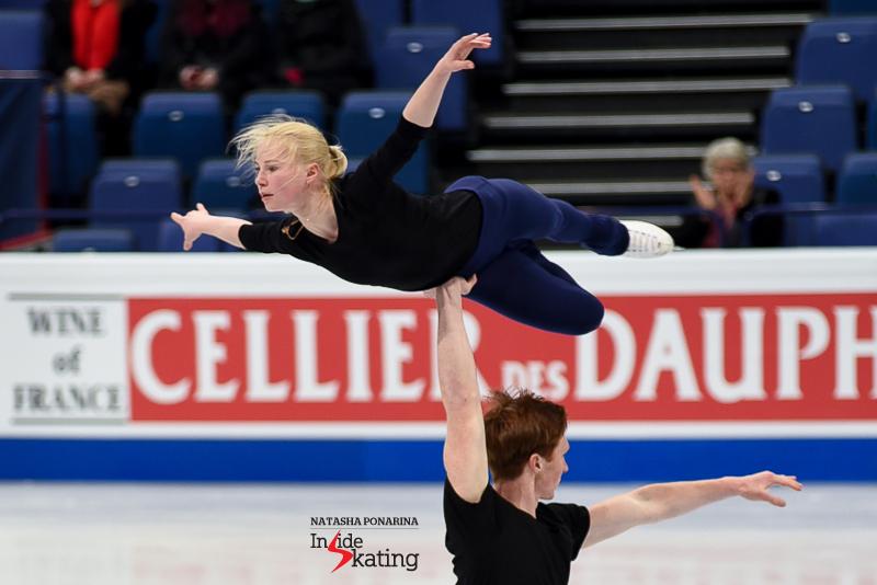 27 Evgenia Tarasova and Vladimir Morozov pairs practice 2017 Worlds Helsinki