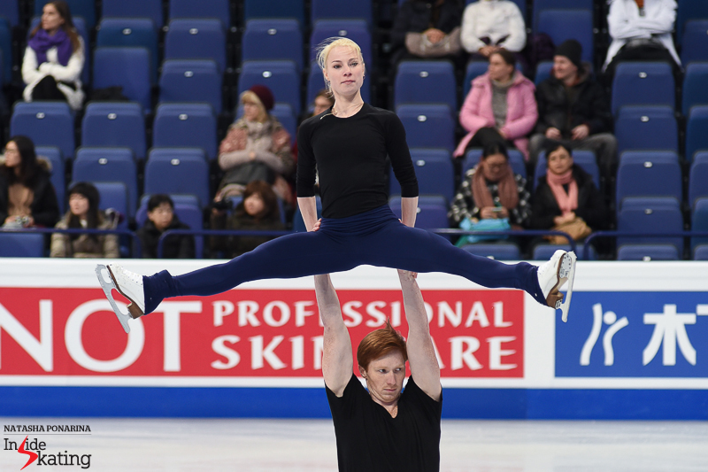 Evgenia Tarasova and Vladimir Morozov during second practice in the main rink, on Tuesday afternoon