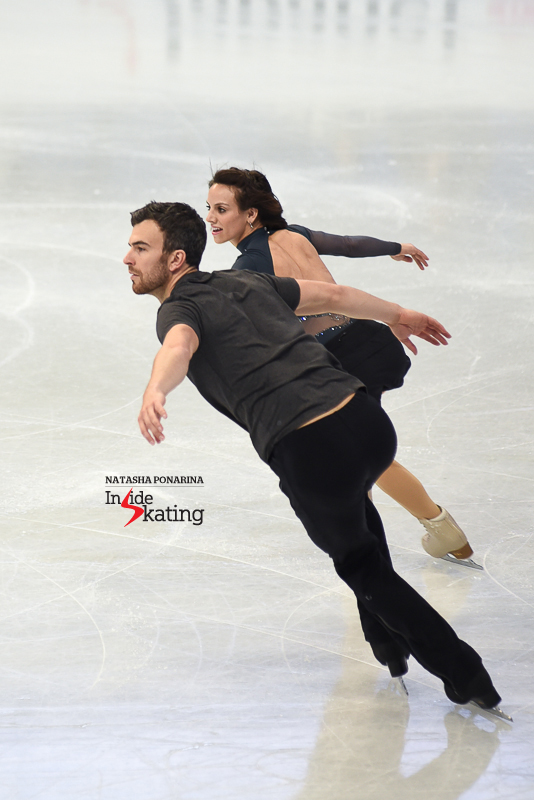 "Meagan Duhamel and Eric Radford practicing their energetic short program, to ""Killer"" (performed by Seal); the SP was also choreographed by Julie Marcotte."