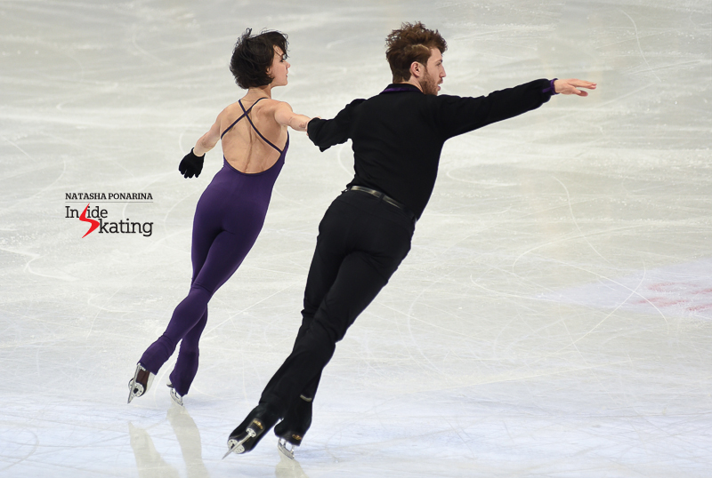 "Long, beautiful lines in Liubov Ilyushechkina and Dylan Moscovitch's free skate, to ""When You Say You Love Me"" (choreo. by David Wilson and Sandra Bezic), as practiced on Tuesday in the main rink."
